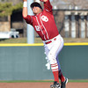 Oklahoma infielder 	Hector Lorenzana grabs a fly ball Tuesday during the Sooners' game against Arkansas Pine Bluff at L. Dale Mitchell Park.<br /> Kyle Phillips/The Transcript