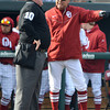 OU Head Baseball Coach Sunny Golloway argues with an official during the Sooners' game against Hofstra Friday at L. Dale Mitchell Park.<br /> Kyle Phillips/The Transcript