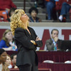 OU Women's Head Basketball Coach Sherri Coale disagrees with a call during the Sooners' game against Kansas Saturday at the Lloyd Noble Center.<br /> Kyle Phillips/The Trasncript