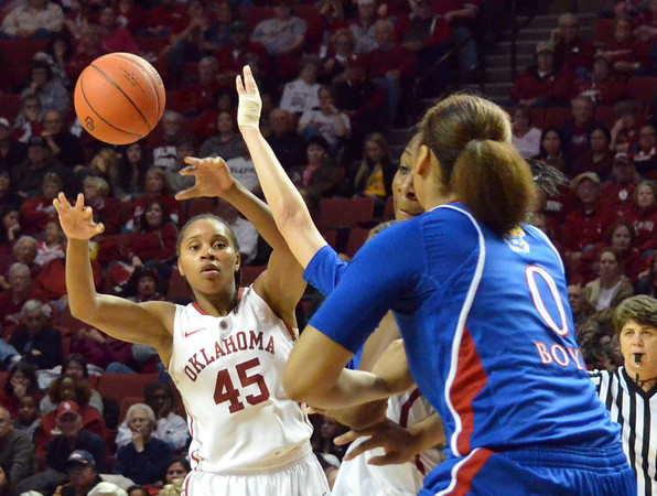 OU guard Jasmine Hartman passes the ball as the Sooners take on the Jayhawks at the Lloyd Noble Center in Norman, Okla..<br /> Kyle Phillips/The Transcript