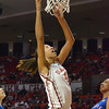 OU center Nicole Griffin puts the ball in the hoop Saturday as the Sooners' take on Kansas at the Lloyd Noble Center in Norman.<br /> Kyle Phillips/The Transcript