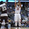 OU's Jordan Woodard puts up a shot during the Sooners' game against Texas A&M, Thursday, Mar. 24, 2016, at Honda Center in Anaheim, Cali. (Kyle Phillips / The Transcript)