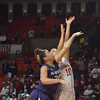 OU guard Morgan Hook tries to get around Kansas State's Bri Craig as she shoots the ball Wednesday during the Sooners' game against the Wildcats at the lloyd Noble Center in Norman, Okla.<br /> Kyle Phillips/The Transcript