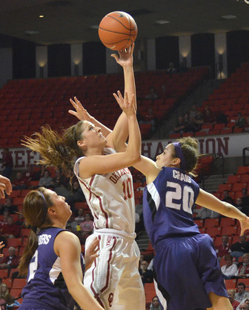 OU guard Morgan Hook takes a shot inside the lane Wednesday during the Sooners' game against Kansas State at the Lloyd Noble Center in Norman, Okla.<br /> Kyle Phillips/The Transcript
