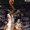Oklahoma guard Sharene Campbell shoots the ball Saturday during the Sooners' game against the Longhorns at the Lloyd Noble Center.<br /> Kyle Phillips/The Transcript
