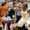 Oklahoma's Aaryn Ellenberg (3) guards Texas guard Chassidy Fussell (24) Saturday during the Sooners' game against the Longhorns at the Lloyd Noble Center.<br /> Kyle Phillips/The Transcript