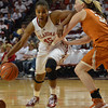 Oklahoma guard Jasmine Hartman (45) pushes past Texas guard Brady Sanders (32) as she drives down the court Saturday during the Sooners' game against the Longhorns at the Lloyd Noble Center.<br /> Kyle Phillips/The Transcript