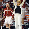 Oklahoma Women's Basketball Coach Sherri Coale celebrates after the Sooners' score a point to take the lead during their game against the University of Texas Saturday at the Lloyd Noble Center.<br /> Kyle Phillips/The Transcript