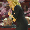 OU Women's Head Basketball Coach Sherri Coale disagrees with a call during the Sooners' game against Iowa Thursday at the Lloyd noble Center.<br /> Kyle Phillips/The Transcript