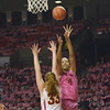Oklahoma center Nicole Griffin (4) takes a shot Thursday during the Sooners' game against the Cyclones at the Lloyd Noble Center in Norman, Okla..<br /> Kyle Phillips/The Transcript