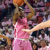 Oklahoma guard Aaryn Ellenberg (3) takes a shot  Thursday during the Sooners' game against the Cyclones at the Lloyd Noble Center in Norman, Okla..<br /> Kyle Phillips/The Transcript