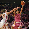 Oklahoma guard Morgan Hook (10) takes a shot during the Sooners' game against the Cyclones Thursday at the Llyod Noble Center.<br /> Kyle Phillips/The Transcript