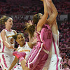Oklahoma guard Morgan Hook (10) flys across the court as she shoots the ball during the Sooners' game against Iowa Thursday at the Lloyd Noble Center in Norman.<br /> Kyle Phillips/The Transcript