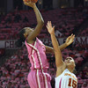 OU guard Jasmine Hartman (45) shoots the ball over Iowa's Nicole Blaskowsky (15) Thursday during the Sooners' game against the Cyclones at the Lloyd Noble Center in Norman, Okla..<br /> Kyle Phillips/The Transcript