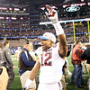 Texas A&M's C.J. Jones celebrates the Aggies win over OU at the Cotton Bowl in Dallas Friday.<br /> Kyle Phillips/The Trascript