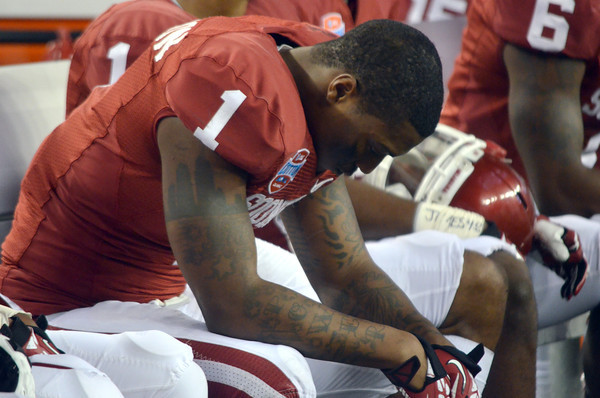OU's Tony Jefferson hangs his head as the final seconds tick off the clock during the Sooners' game against Texas A&M.<br /> Kyle Phillips/The Transcript
