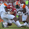 OU linebacker Tom Wort (21) sacks Florida A&M quarterback Damien Fleming (7)  during the Sooners' game against the Rattlers Saturday at Owen Field.<br /> Kyle Phillips/The Transcript