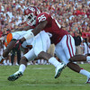 OU linebacker Aaron Franklin (25) sacks Florida A&M quarterback Damien Fleming (7)  during the Sooners' game against the Rattlers Saturday at Owen Field.<br /> Kyle Phillips/The Transcript