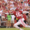 September 10 2016 OU vs ULM Football<br /> <br /> Oklahoma Sooners wide receiver Jeffery Mead (15) tries to catch a pass  in the first half of the game between the Sooners and University of Louisiana Monroe at Owen Field in Norman OK<br /> <br /> <br /> June Frantz Hunt/Transcript