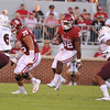 September 10 2016 OU vs ULM Football<br /> <br /> Oklahoma Sooners running back Samaje Perine (32) in the first half of the game between the Sooners and University of Louisiana Monroe at Owen Field in Norman OK<br /> <br /> <br /> June Frantz Hunt/Transcript