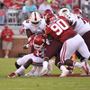 September 10 2016 OU vs ULM Football<br /> <br /> Oklahoma Sooners linebacker Emmanuel Beal (14)   in the first half of the game between the Sooners and University of Louisiana Monroe at Owen Field in Norman OK<br /> <br /> <br /> June Frantz Hunt/Transcript