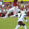 September 10 2016 OU vs ULM Football<br /> <br />  Oklahoma Sooners wide receiver Jeffery Mead (15) tries to intercept a pass in the first half of the game between the Sooners and University of Louisiana Monroe at Owen Field in Norman OK<br /> <br /> <br /> June Frantz Hunt/Transcript
