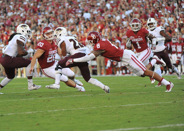 September 10 2016 OU vs ULM Football<br /> Oklahoma Sooners safety Kahlil Haughton (8) and Ignacio Gallegos (20) tackle ULM Nathan Meadors  in the first half of the game between the Sooners and University of Louisiana Monroe at Owen Field in Norman OK<br /> <br /> <br /> June Frantz Hunt/Transcript