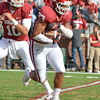 Oklahoma's Trey Millard (33) runs with the ball during the Sooners' game against the Bears at Owen Field.  <br /> Kyle Phillips/The Transcript