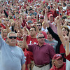 OU football fans cheer from the stands as the Sooners' get ready to start their game against Baylor Saturday at Owen Field.<br /> Kyle Phillips/The Transcript