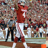 OU receiver Kenny Stills celebrates after scoring a touchdown Saturday during the Sooners' game against Kansas at Owen Field.<br /> Kyle Phillips/The Transcript