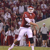 Ou quarterback Landry Jones (12) throws a pass during the Sooners' game against Kansas at Owen Field.<br /> Kyle Phillips/The Transcript