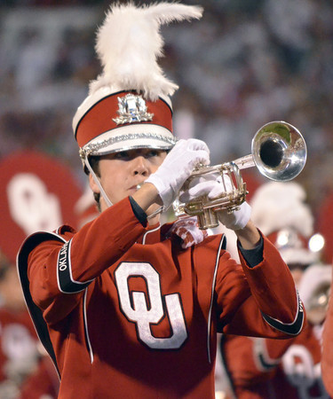 A member of the  Pride of Oklahoma Marching Band performs on the field before OU takes on Notre Dame Saturday at Owen Field.<br /> Kyle Phillips/The Transcript