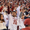 OU fans cheer for the Sooners as they kick off the ball during the first quarter of their game against Notre Dame Saturday at Owen Field.<br /> Kyle Phillips/The Transcript