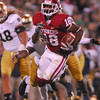 OU receiver Jalen Saunders (18) runs with the ball after catching a pass Saturday during the Sooners' loss to Notre Dame at Owen Field.<br /> Kyle Phillips/The Transcript