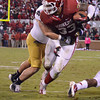 OU's Trey Millard (33) tries to push past the Notre Dame defense Saturday during the Sooners' game against the Fighting Irish at Owen Field.<br /> Kyle Phillips/The Transcript