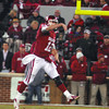 OU quarterback Landry Jones (12) passes the ball during the Sooners' game against Notre Dame Saturday at Owen Field.<br /> Kyle Phillips/The Transcript