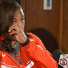 Track and field olympic competitor Tia Brooks wipes away a tear as she gets choked up talking about what it was like during the Olympic Trails Thursday afternoon at a press conference at the University of Oklahoma.<br /> Kyle Phillips/The Transcript