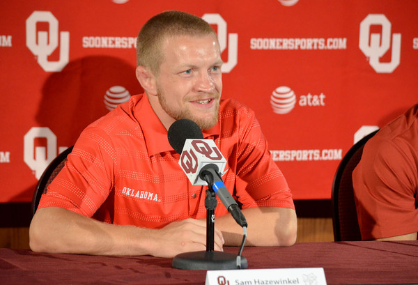 Men's Freestyle Wrestling Olympian Sam Hazewinkel talks to the media about making it to the 2012 Olympics Thursday afternoon at a press conference at the University of Oklahoma.<br /> Kyle Phillips/The Transcript