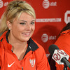 Track and field Olympian  Brittany Borman talks about what it was like during the Olympic Trails Thursday afternoon at a press conference at the University of Oklahoma.<br /> Kyle Phillips/The Transcript