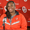 Track and field olympic competitor Tia Brooks talks about what it was like during the Olympic Trails Thursday afternoon at a press conference at the University of Oklahoma.<br /> Kyle Phillips/The Transcript