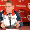 Olympic gymnist Steven Legendre talks about what it was like during the Olympic Trails Thursday afternoon at a press conference at the University of Oklahoma.<br /> Kyle Phillips/The Transcript