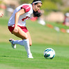 OU forward Renae Cuellar (10) tries to get control of the ball Sunday as the Sooners take on TCU at John Crain Field.<br /> Kyle Phillips/The Transcript