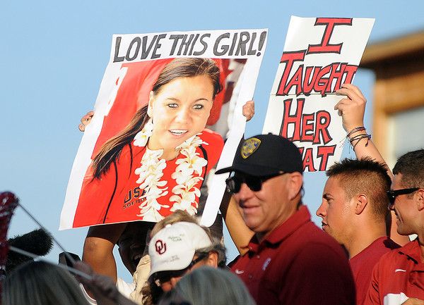 Sooner fans show their spirit for Oklahoma pitcher Keilani Ricketts, Monday, June 3, 2012, in the first game of the Womens College World Series championship at ASA Hall of Fame Stadium in Oklahoma City. Jerry Laizure/The Transcript