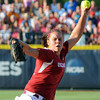 Oklahoma starter Keilani Ricketts throws to an Alabama batter, Monday, June 3, 2012, in the first game of the Womens College World Series championship at ASA Hall of Fame Stadium in Oklahoma City. Jerry Laizure/The Transcript