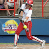 Oklahoma catcher Jessica Shults connects on a hit against Alabama, Tuesday, June 5, 2012, in the second game of the Womens College World Series championship at ASA Hall of Fame Stadium in Oklahoma City. Jerry Laizure / The Transcript