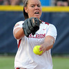Oklahoma starter Keilani Ricketts throws to an alabama batter, Tuesday, June 5, 2012, in the second game of the Womens College World Series championship at ASA Hall of Fame Stadium in Oklahoma City. Jerry Laizure / The Transcript