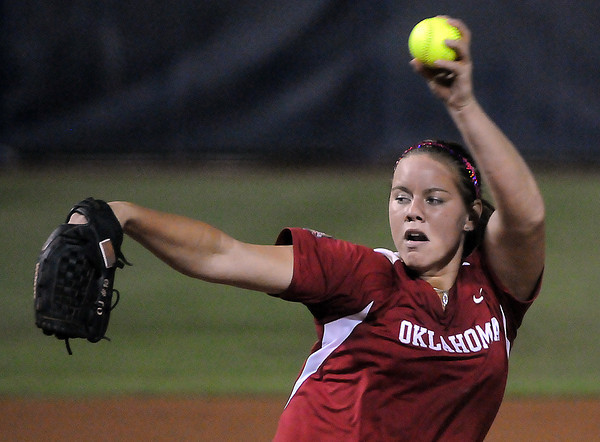Oklahoma starter Keilani Ricketts throws to an Alabama batter, Wednesday, June 6, 2012, in the third game of the Womens College World Series championship at ASA Hall of Fame Stadium in Oklahoma City. Jerry Laizure / The Transcript