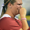 Oklahoma's Katie Norris reacts after the Sooners lost to Alabama in the WCWS championship series. Jerry Laizure / The Transcript