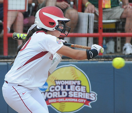 Oklahoma outfielder Destinee Martinez had three hits against Arizona State, Sunday, June 3, 2012, in a semifinal game of the Womens College World Series at ASA Hall of Fame Stadium in Oklahoma City. Jerry Laizure/The Transcript