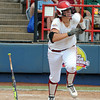 Oklahoma pitcher Keilani Ricketts runs to first as she watches her hit against Arizona State, Sunday, June 3, 2012, in a semifinal game of the Womens College World Series at ASA Hall of Fame Stadium in Oklahoma City. Jerry Laizure/The Transcript
